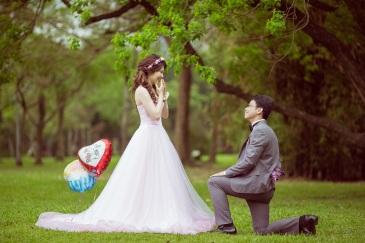 浪漫草地婚紗照